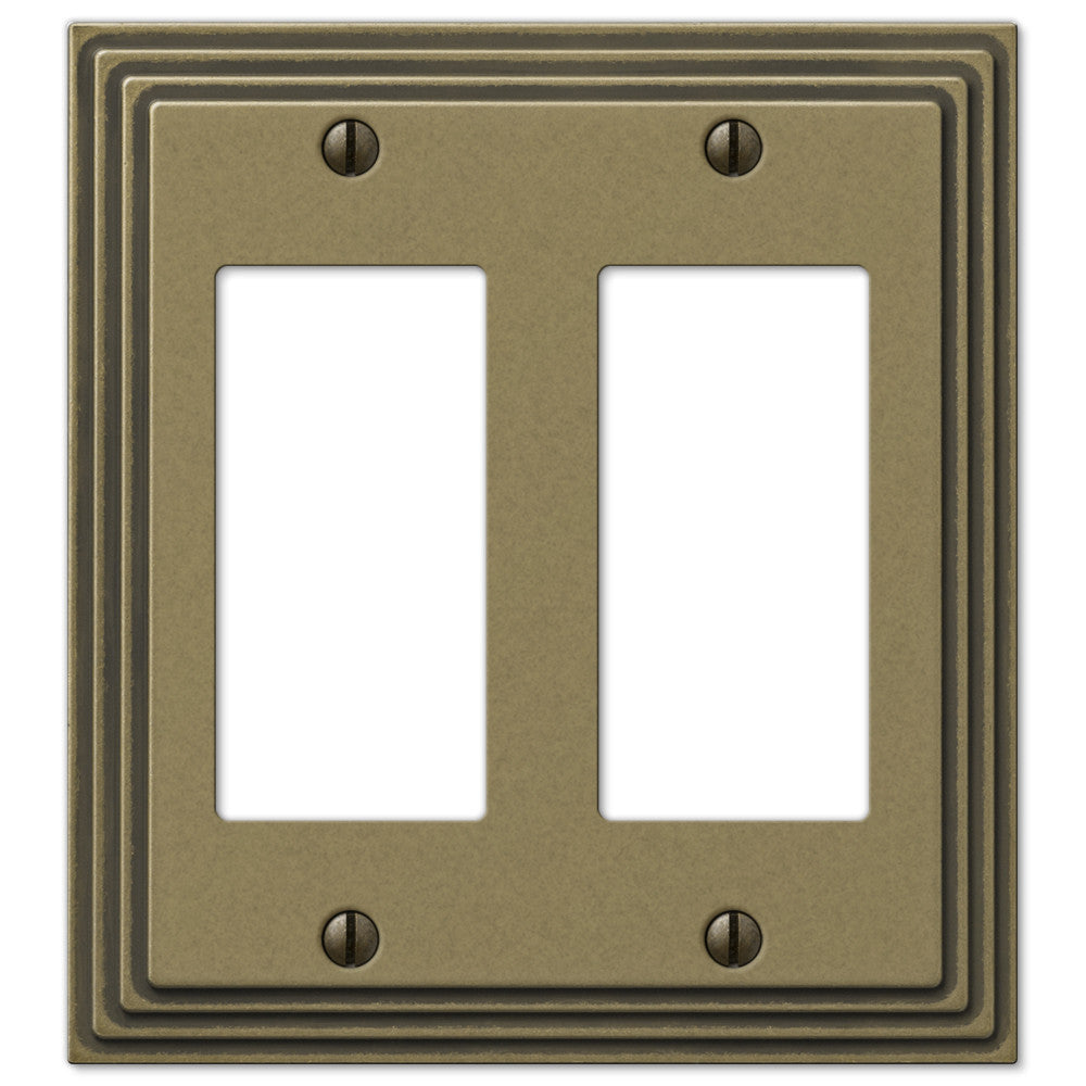 Steps Rustic Brass Cast - 2 Rocker Wallplate - Wallplate Warehouse