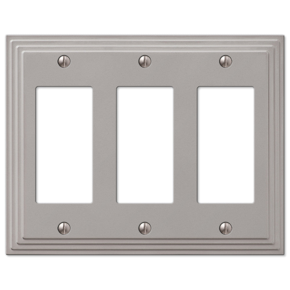 Steps Satin Nickel Cast - 3 Rocker Wallplate - Wallplate Warehouse