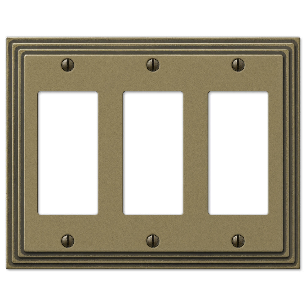Steps Rustic Brass Cast - 3 Rocker Wallplate - Wallplate Warehouse
