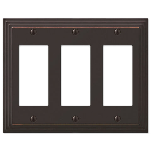 Steps Aged Bronze Cast - 3 Rocker Wallplate - Wallplate Warehouse