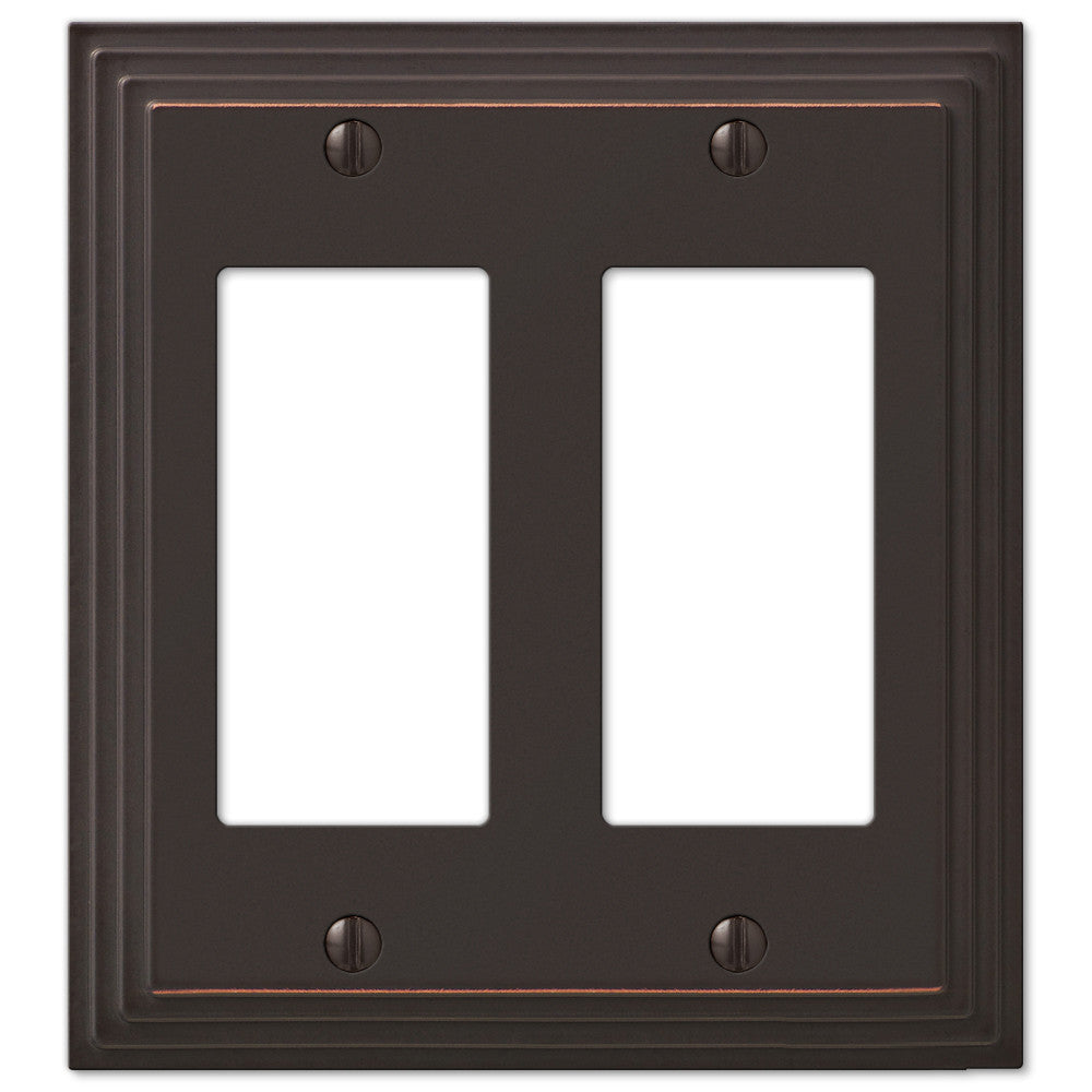 Steps Aged Bronze Cast - 2 Rocker Wallplate - Wallplate Warehouse
