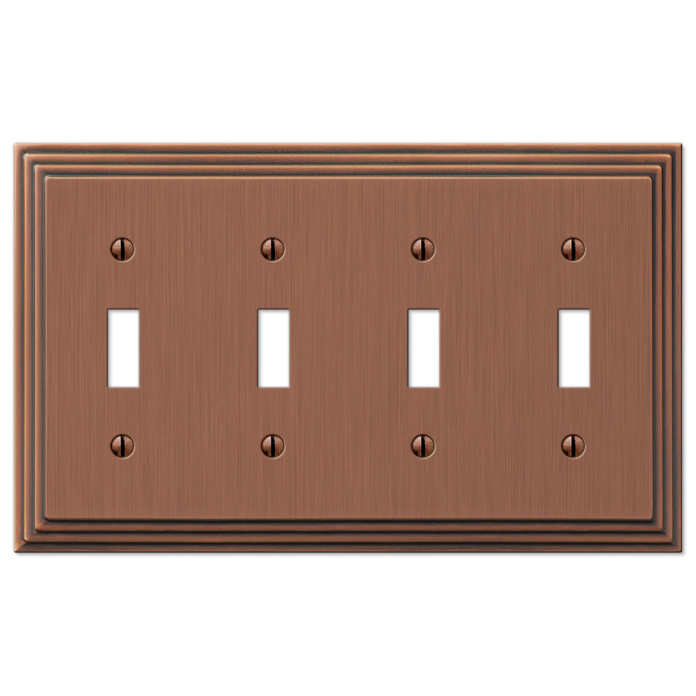 Steps Antique Copper Cast - 4 Toggle Wallplate - Wallplate Warehouse