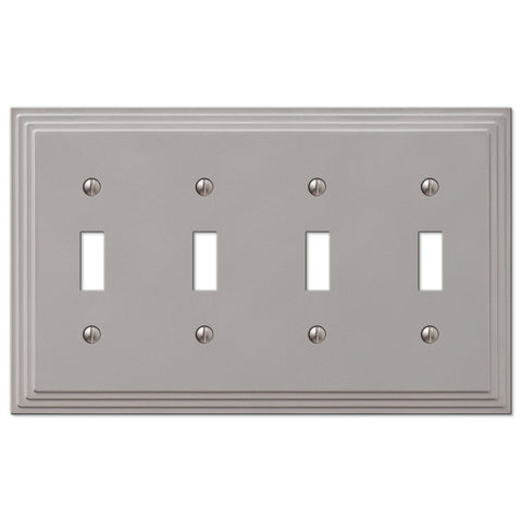 Steps Satin Nickel Cast - 4 Toggle Wallplate - Wallplate Warehouse