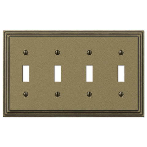 Steps Rustic Brass Cast - 4 Toggle Wallplate - Wallplate Warehouse