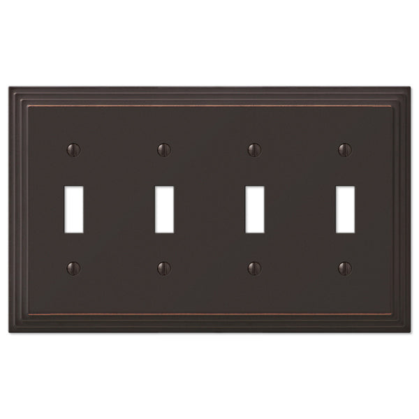 Steps Aged Bronze Cast - 4 Toggle Wallplate - Wallplate Warehouse