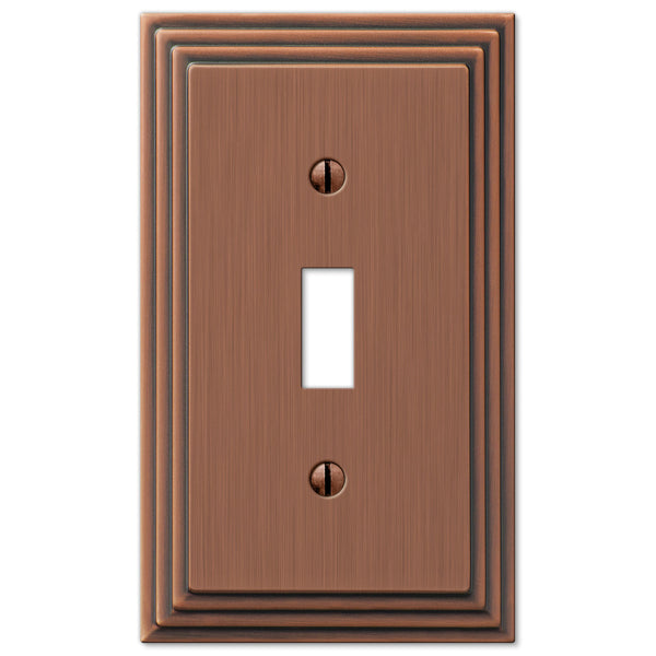 Steps Antique Copper Cast - 1 Toggle Wallplate - Wallplate Warehouse