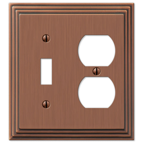 Steps Antique Copper Cast - 1 Toggle / 1 Duplex Outlet Wallplate - Wallplate Warehouse