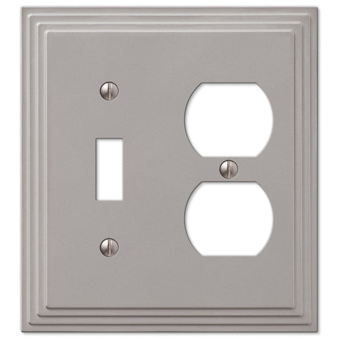 Steps Satin Nickel Cast - 1 Toggle / 1 Duplex Outlet Wallplate - Wallplate Warehouse