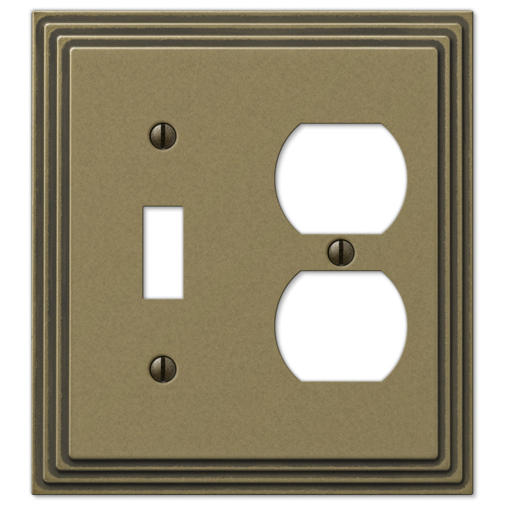 Steps Rustic Brass Cast - 1 Toggle / 1 Duplex Outlet Wallplate - Wallplate Warehouse