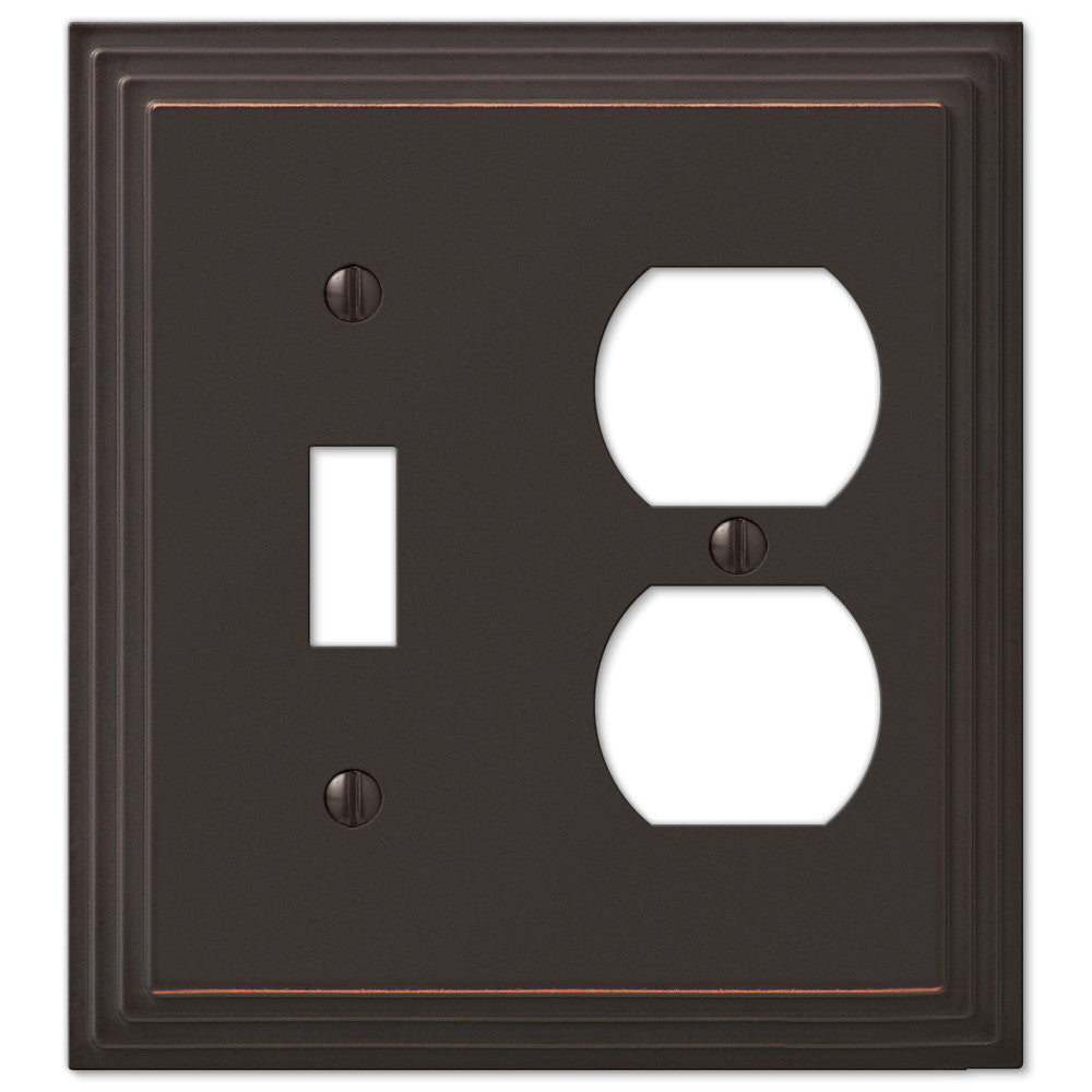 Steps Aged Bronze Cast - 1 Toggle / 1 Duplex Outlet Wallplate - Wallplate Warehouse