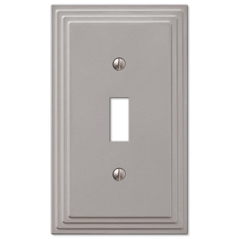Steps Satin Nickel Cast - 1 Toggle Wallplate - Wallplate Warehouse