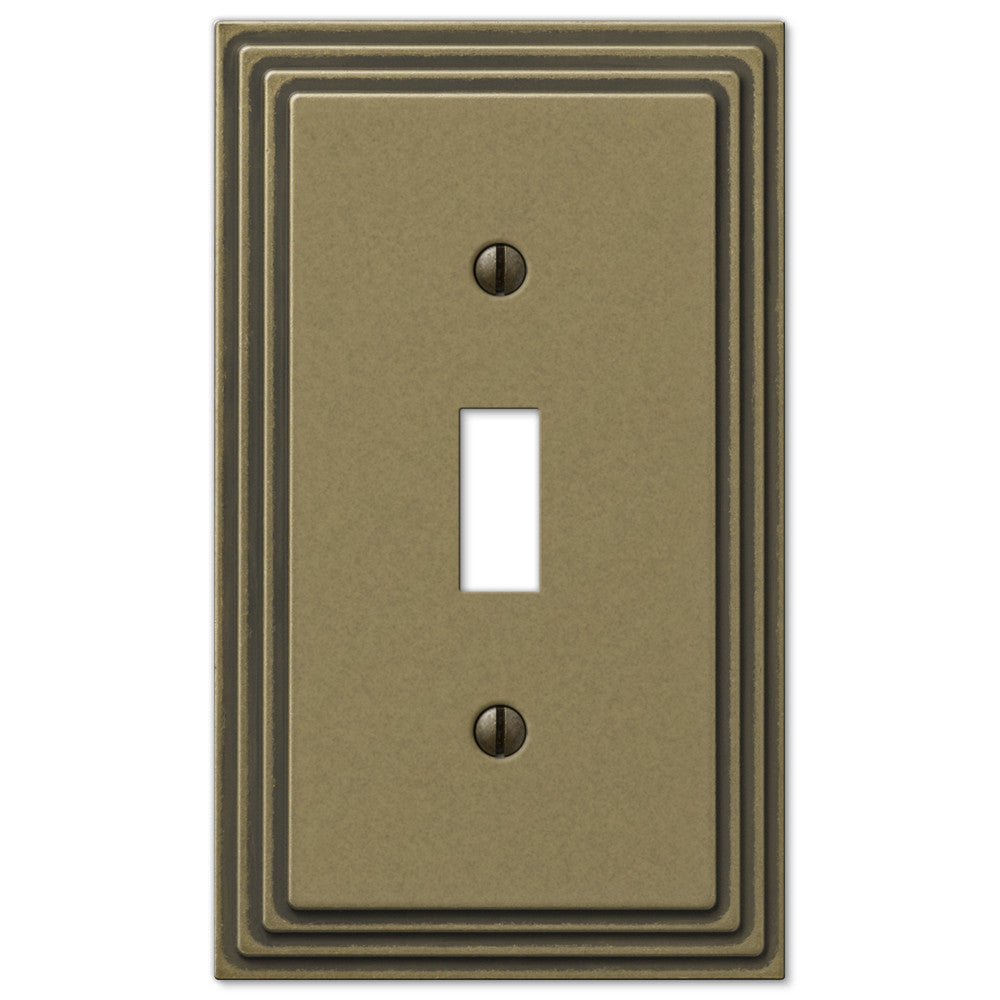 Steps Rustic Brass Cast - 1 Toggle Wallplate - Wallplate Warehouse