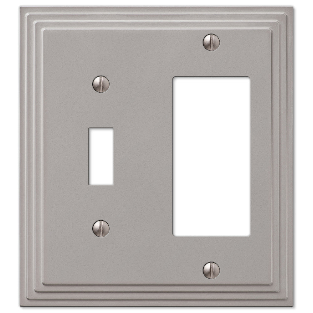 Steps Satin Nickel Cast - 1 Toggle / 1 Rocker Wallplate - Wallplate Warehouse
