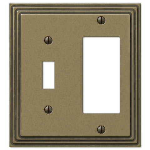 Steps Rustic Brass Cast - 1 Toggle / 1 Rocker Wallplate - Wallplate Warehouse