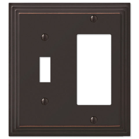 Steps Aged Bronze Cast - 1 Toggle / 1 Rocker Wallplate - Wallplate Warehouse