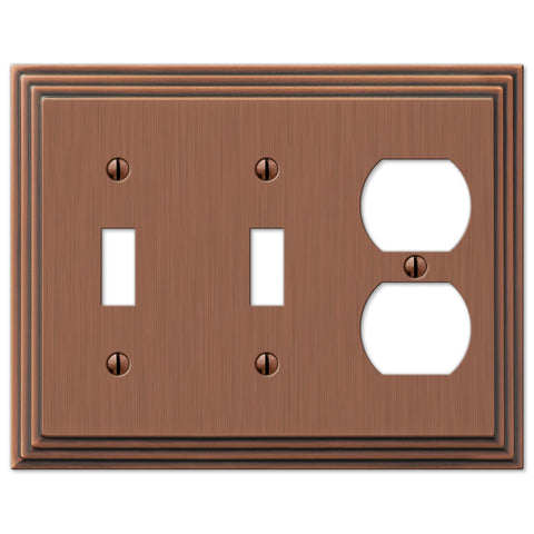 Steps Antique Copper Cast - 2 Toggle / 1 Duplex Outlet Wallplate - Wallplate Warehouse