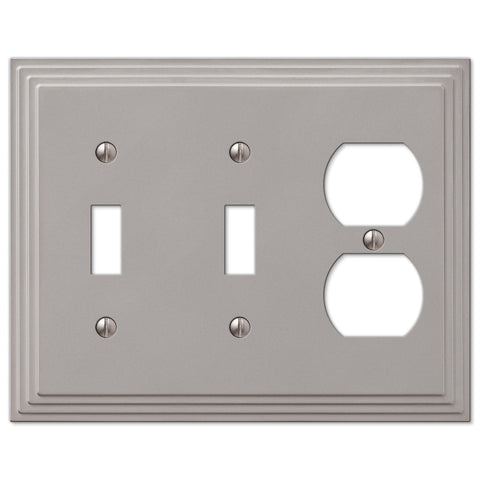 Steps Satin Nickel Cast - 2 Toggle / 1 Duplex Outlet Wallplate - Wallplate Warehouse
