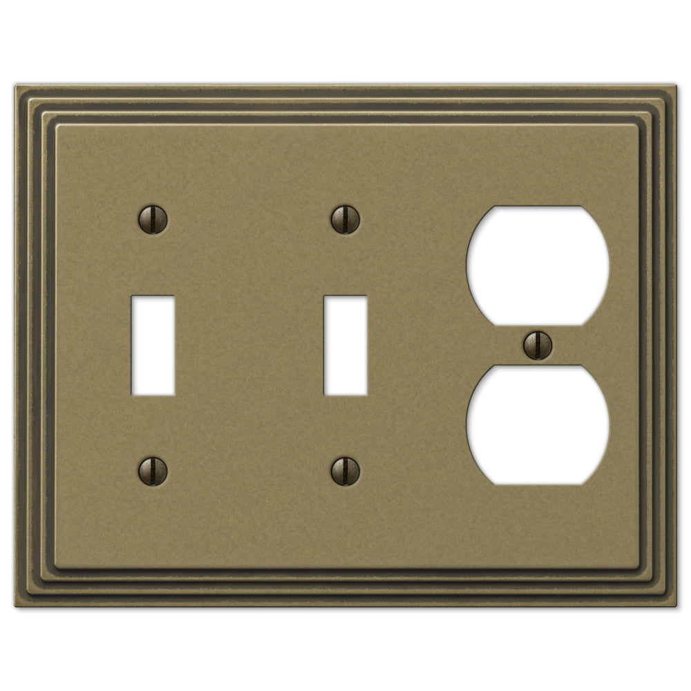 Steps Rustic Brass Cast - 2 Toggle / 1 Duplex Outlet Wallplate - Wallplate Warehouse