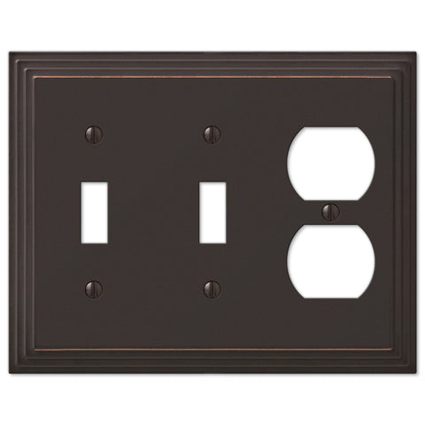 Steps Aged Bronze Cast - 2 Toggle / 1 Duplex Outlet Wallplate - Wallplate Warehouse