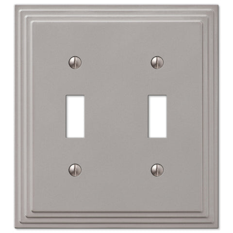 Steps Satin Nickel Cast - 2 Toggle Wallplate - Wallplate Warehouse