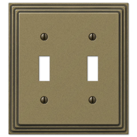 Steps Rustic Brass Cast - 2 Toggle Wallplate - Wallplate Warehouse