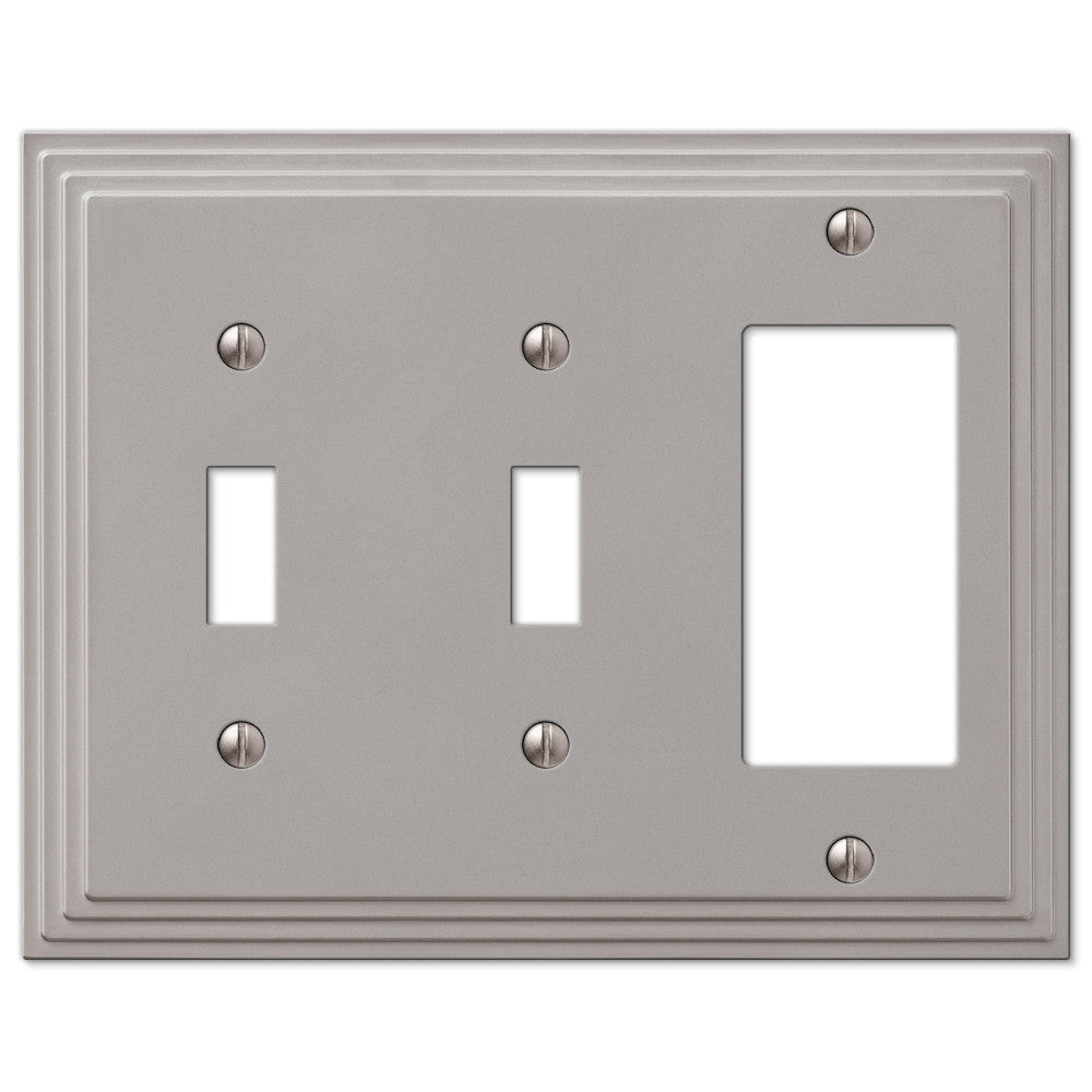 Steps Satin Nickel Cast - 2 Toggle / 1 Rocker Wallplate - Wallplate Warehouse