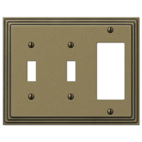 Steps Rustic Brass Cast - 2 Toggle / 1 Rocker Wallplate - Wallplate Warehouse