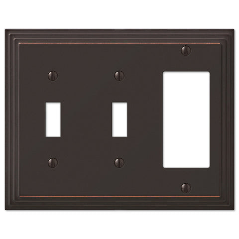 Steps Aged Bronze Cast - 2 Toggle / 1 Rocker Wallplate - Wallplate Warehouse