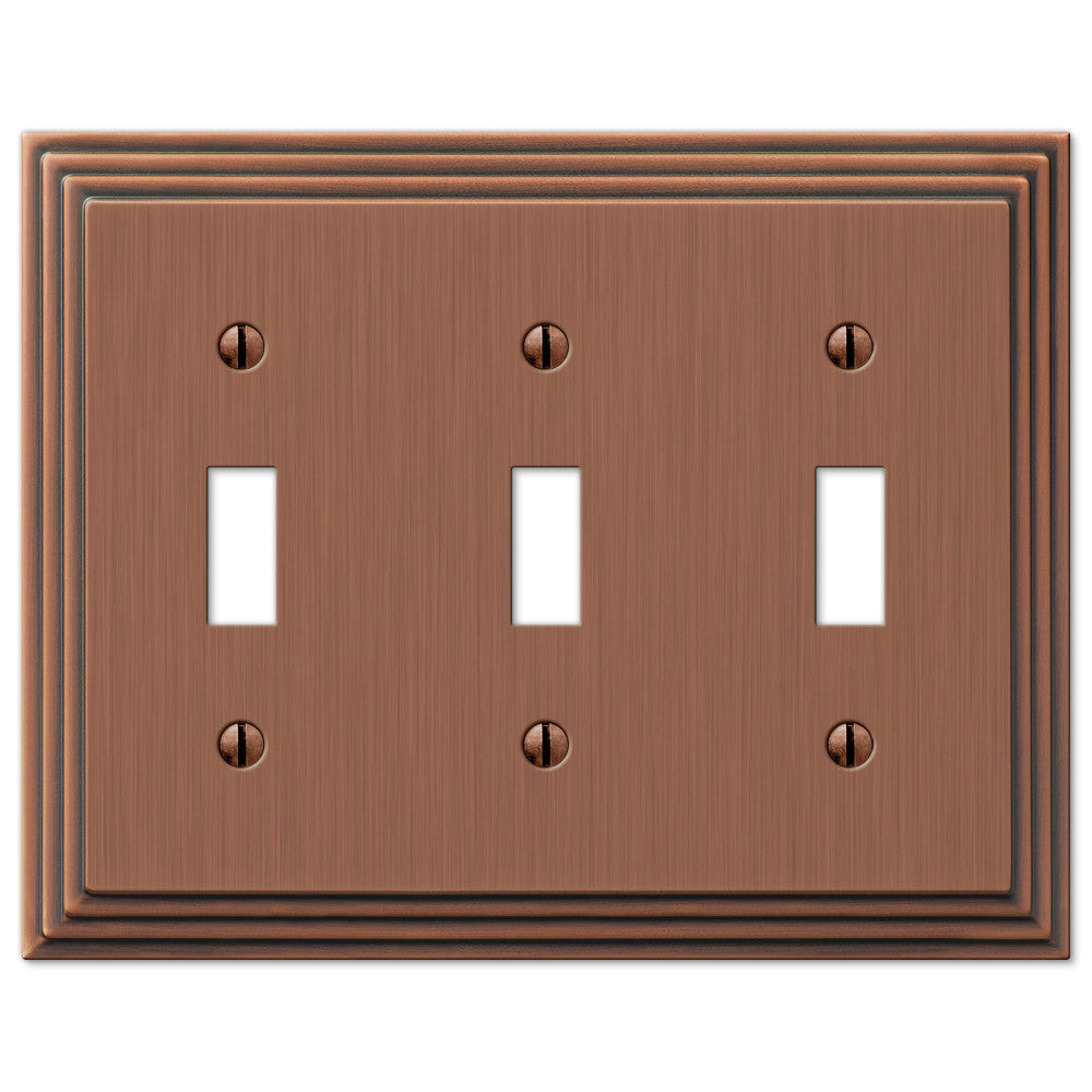 Steps Antique Copper Cast - 3 Toggle Wallplate - Wallplate Warehouse