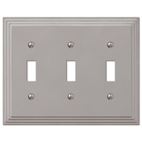 Steps Satin Nickel Cast - 3 Toggle Wallplate - Wallplate Warehouse