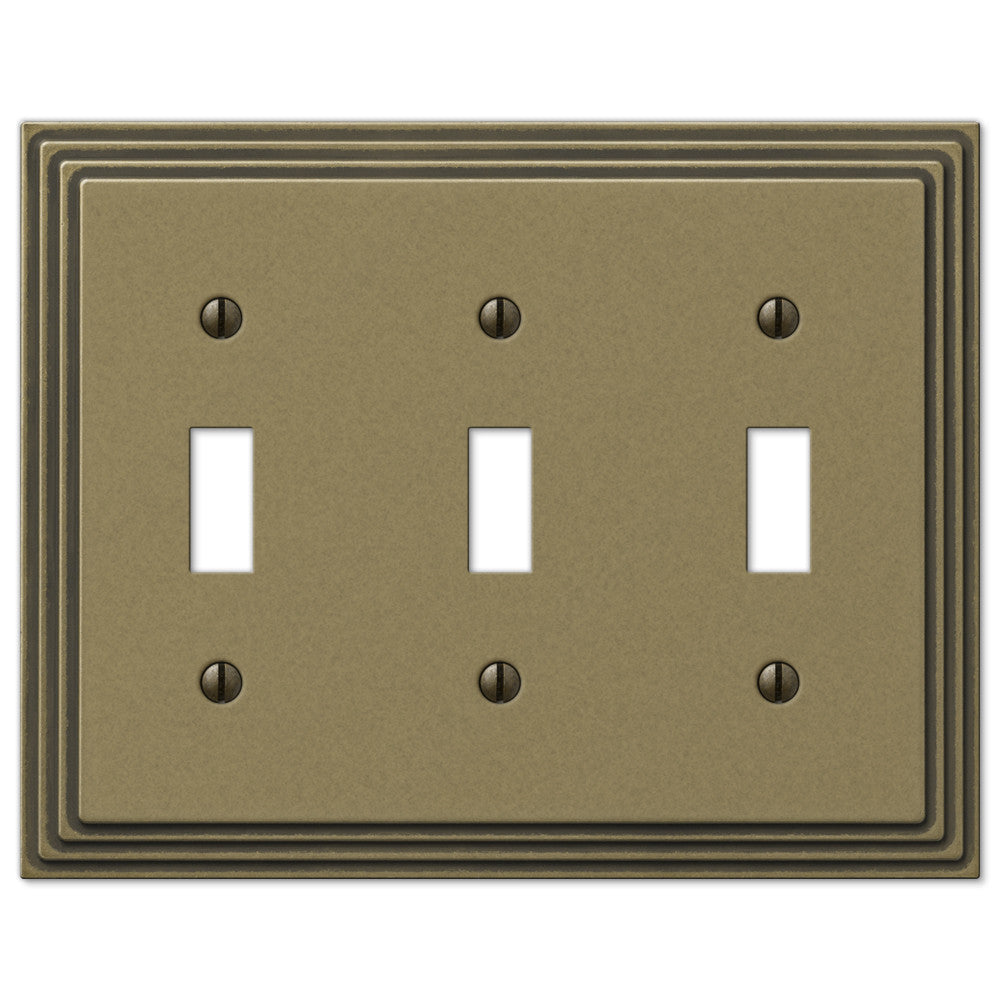 Steps Rustic Brass Cast - 3 Toggle Wallplate - Wallplate Warehouse