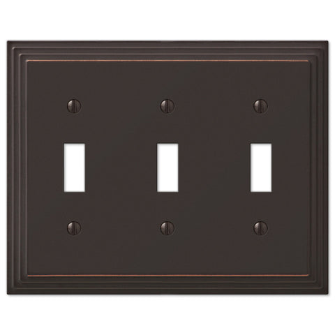 Steps Aged Bronze Cast - 3 Toggle Wallplate - Wallplate Warehouse