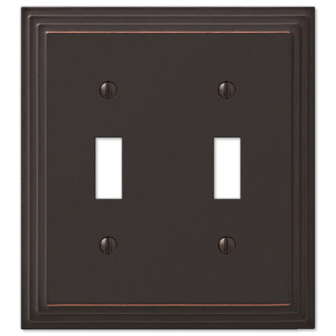 Steps Aged Bronze Cast - 2 Toggle Wallplate - Wallplate Warehouse