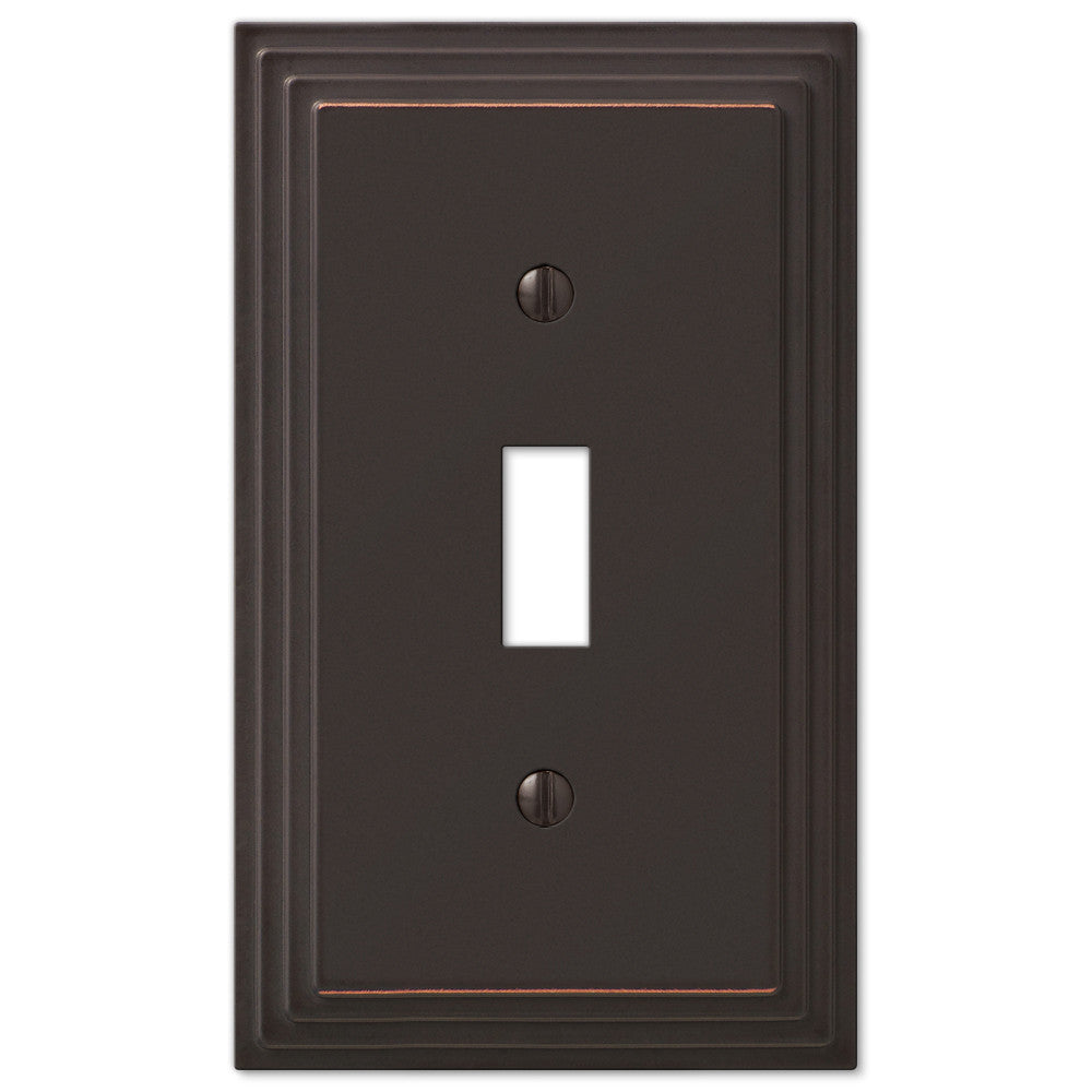 Steps Aged Bronze Cast - 1 Toggle Wallplate - Wallplate Warehouse