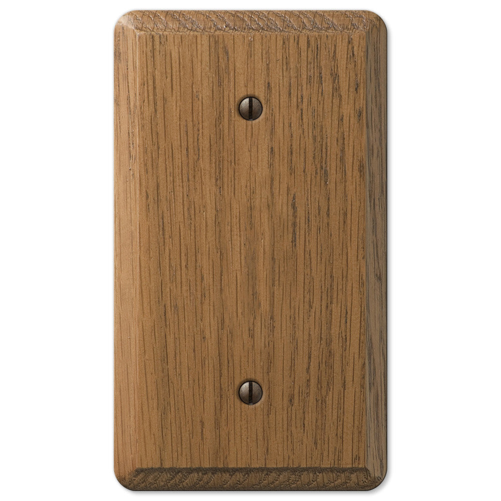 Contemporary Medium Oak Wood - 1 Blank Wallplate - Wallplate Warehouse