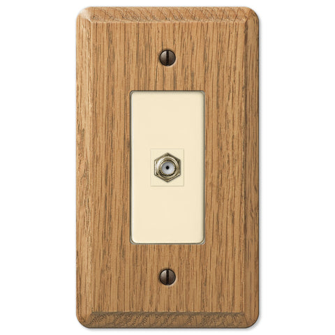Contemporary Light Oak Wood - 1 Cable Jack Wallplate - Wallplate Warehouse