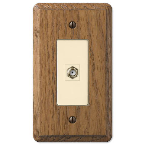 Contemporary Medium Oak Wood - 1 Cable Jack Wallplate - Wallplate Warehouse