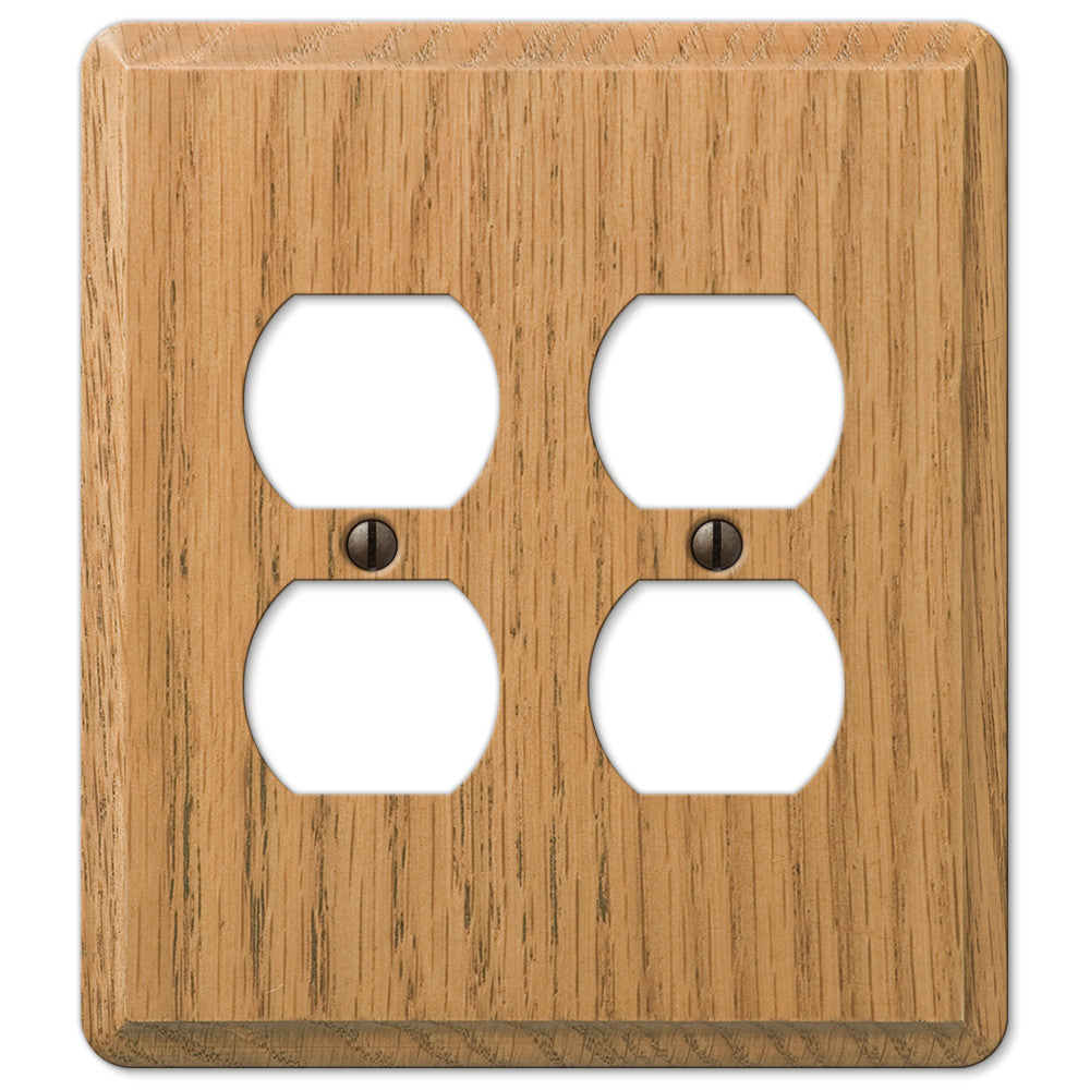 Contemporary Light Oak Wood - 2 Duplex Outlet Wallplate - Wallplate Warehouse