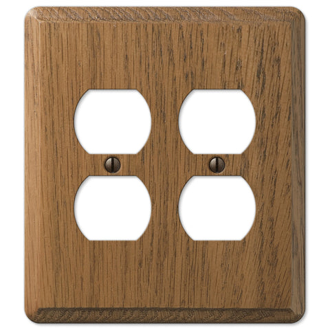 Contemporary Medium Oak Wood - 2 Duplex Outlet Wallplate - Wallplate Warehouse