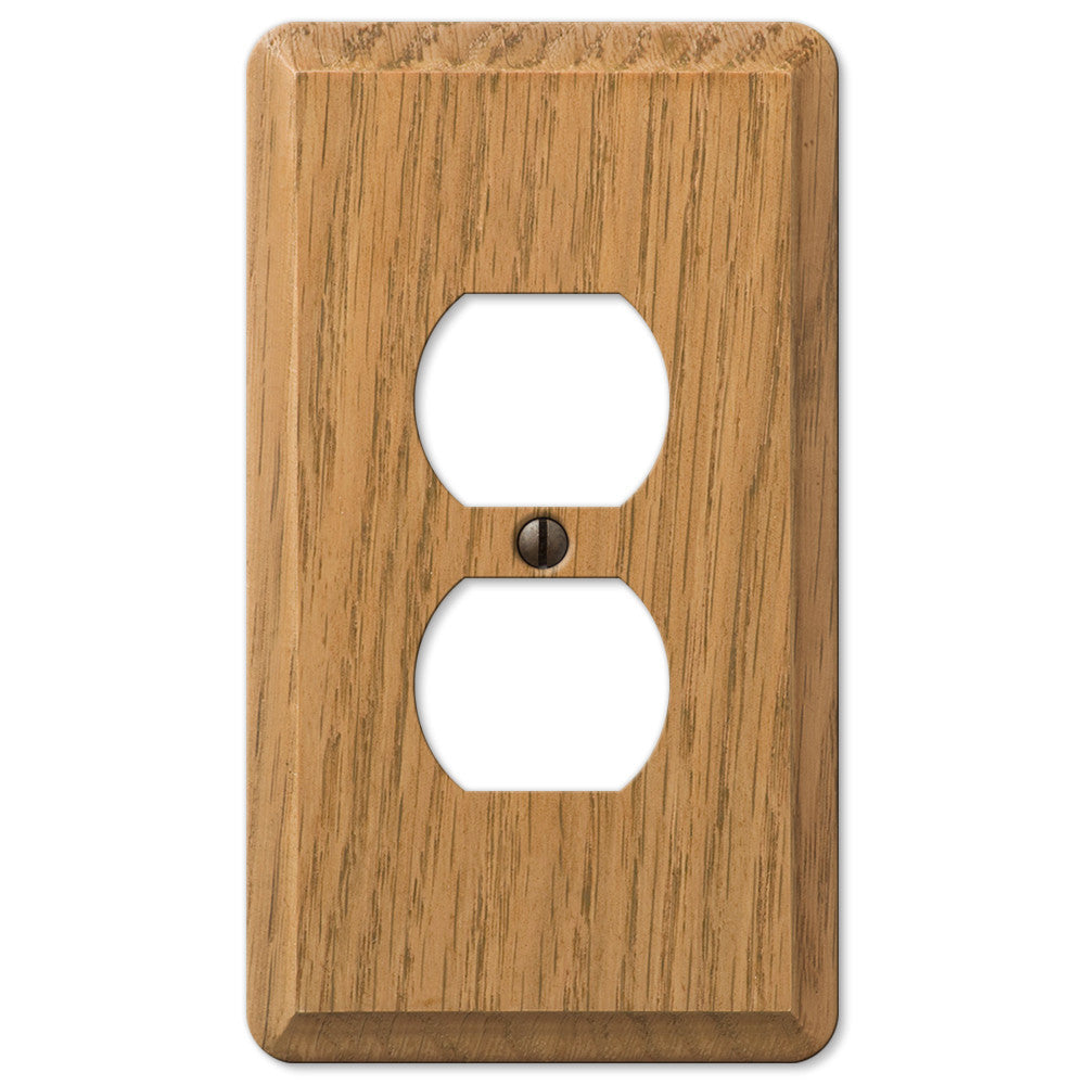 Contemporary Light Oak Wood - 1 Duplex Outlet Wallplate - Wallplate Warehouse