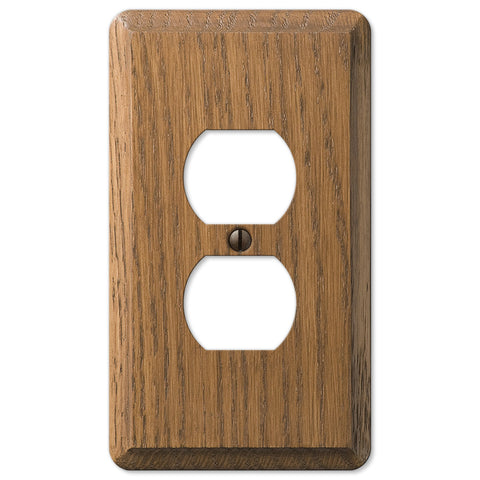 Contemporary Medium Oak Wood - 1 Duplex Outlet Wallplate - Wallplate Warehouse