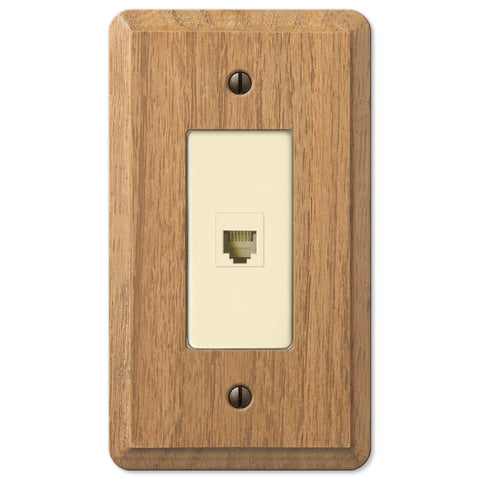 Contemporary Light Oak Wood - 1 Phone Jack Wallplate - Wallplate Warehouse