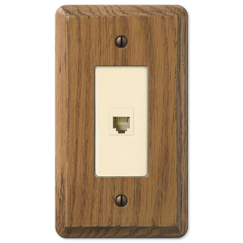 Contemporary Medium Oak Wood - 1 Phone Jack Wallplate - Wallplate Warehouse