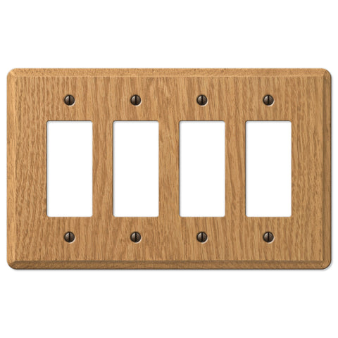 Contemporary Light Oak Wood - 4 Rocker Wallplate - Wallplate Warehouse