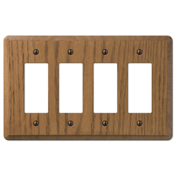 Contemporary Medium Oak Wood - 4 Rocker Wallplate - Wallplate Warehouse