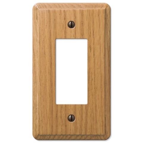 Contemporary Light Oak Wood - 1 Rocker Wallplate - Wallplate Warehouse