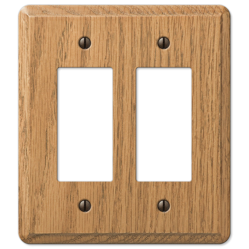 Contemporary Light Oak Wood - 2 Rocker Wallplate - Wallplate Warehouse