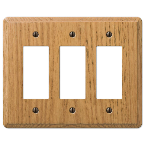 Contemporary Light Oak Wood - 3 Rocker Wallplate - Wallplate Warehouse