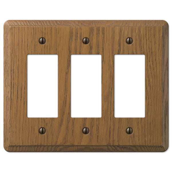 Contemporary Medium Oak Wood - 3 Rocker Wallplate - Wallplate Warehouse