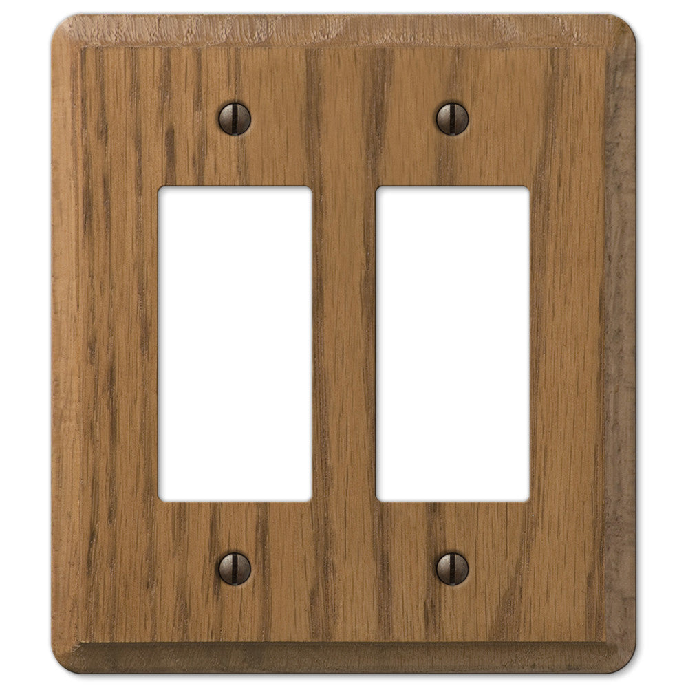 Contemporary Medium Oak Wood - 2 Rocker Wallplate - Wallplate Warehouse